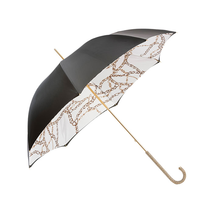Black Umbrella with Chains Printed Interior